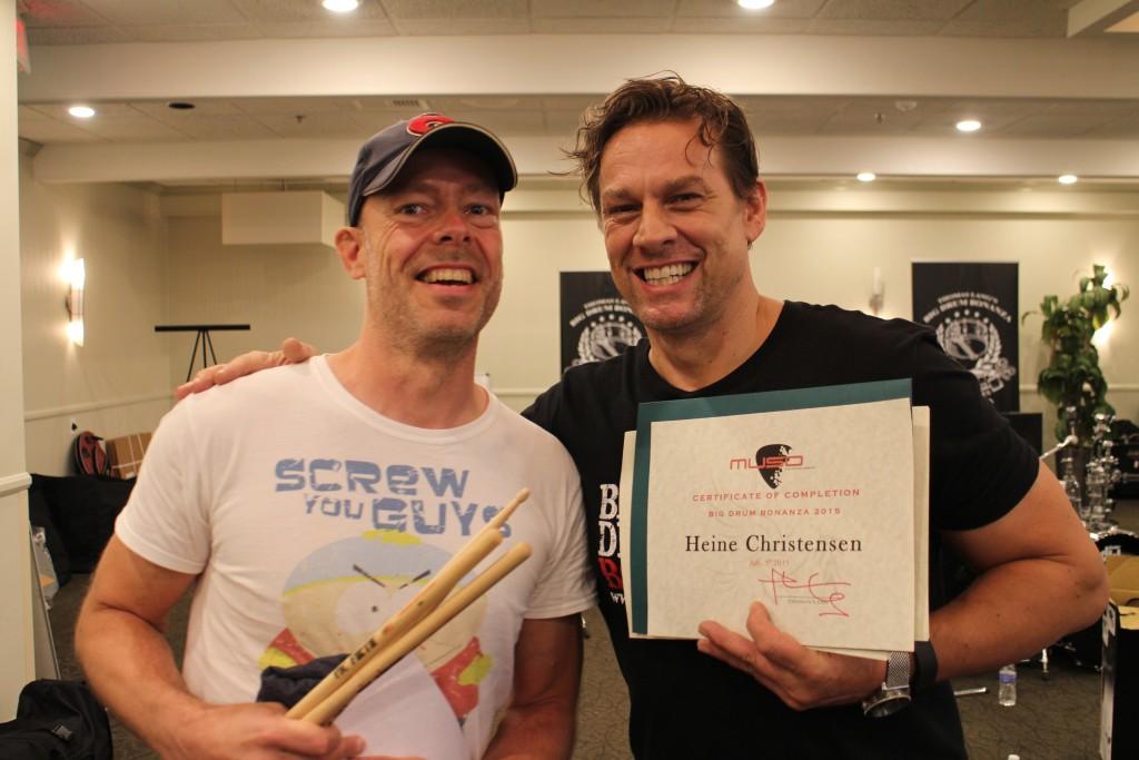 Thomas gives me my Big Drum Bonanza diploma.